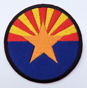 Arizona-State-Flag-Embroidered-Iron-On-Sew-Patch-Circle-Round-United-States-USA