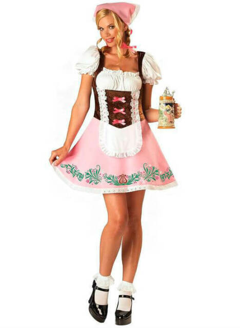 Ladies Pink Bavarian Girl Fancy Dress Costume