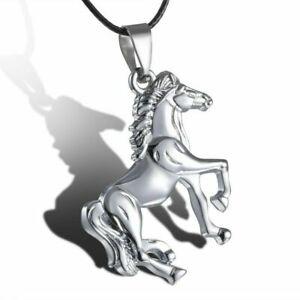 Edelstahl-Kuehler-silber-Gold-Pferd-Anhaenger-Leder-Schnur-Halskette-Kette-Schmuck