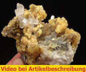 7138-Coelestin-celestite-UV-Calcit-Schwefel-9-8-6-cm-1992-Machow-Polen-Film