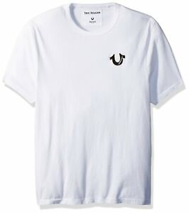 c3d60d9e0 Details about True Religion Men's Black Metal Horseshoe Logo w Gold Trim  Tee T-Shirt in White