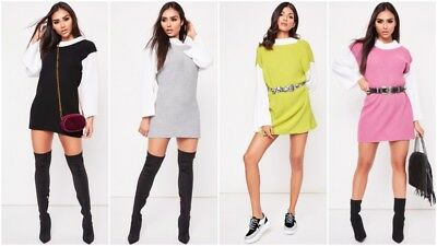 Der GüNstigste Preis Fashion Womens Knitted Sweater Long Sleeve Colour Block Polo Neck Jumper Dress Dinge Bequem Machen FüR Kunden