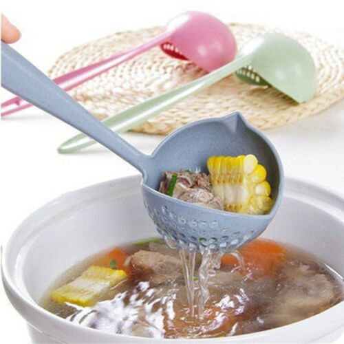 Home 2 in 1 Soup Spoon Long Handle Dinnerware Kitchen Cooking Utensils Gifts