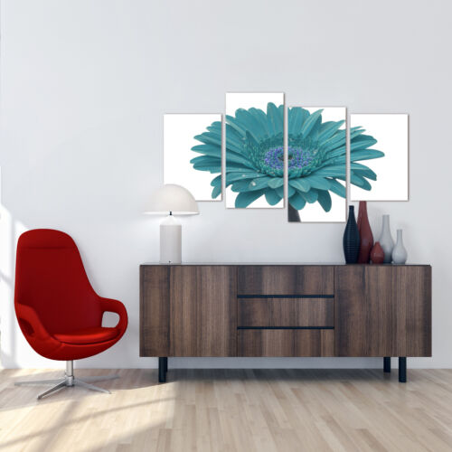 Large Teal White Gerbera Daisy Canvas Wall Art Pictures Prints XL 4114
