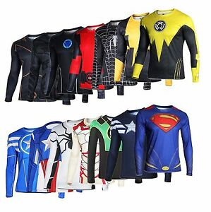 Superhero-Marvel-Comics-Costume-Cycling-Tee-T-Shirts-Long-Sleeve-Bicycle-Jersey