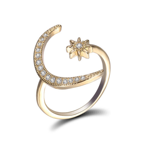 S925 Adjustable Crescent Moon Star Ring 18k Gold Engagement Ring Ornament