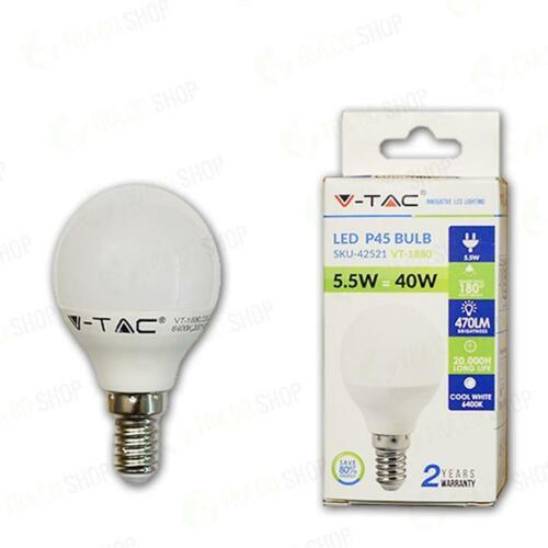 LAMPADINA A LED 5.5W E14 P45 BIANCO NATURALE 4000K Naturale 007198
