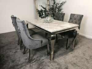 Louis White Marble 150cm Dining Table Grey Lion Knocker Velvet Chairs Ebay