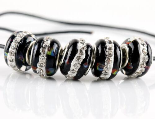 5Pcs SILVER MURANO GLASS BEAD Fit European Charm Bracelet Jewelry Making
