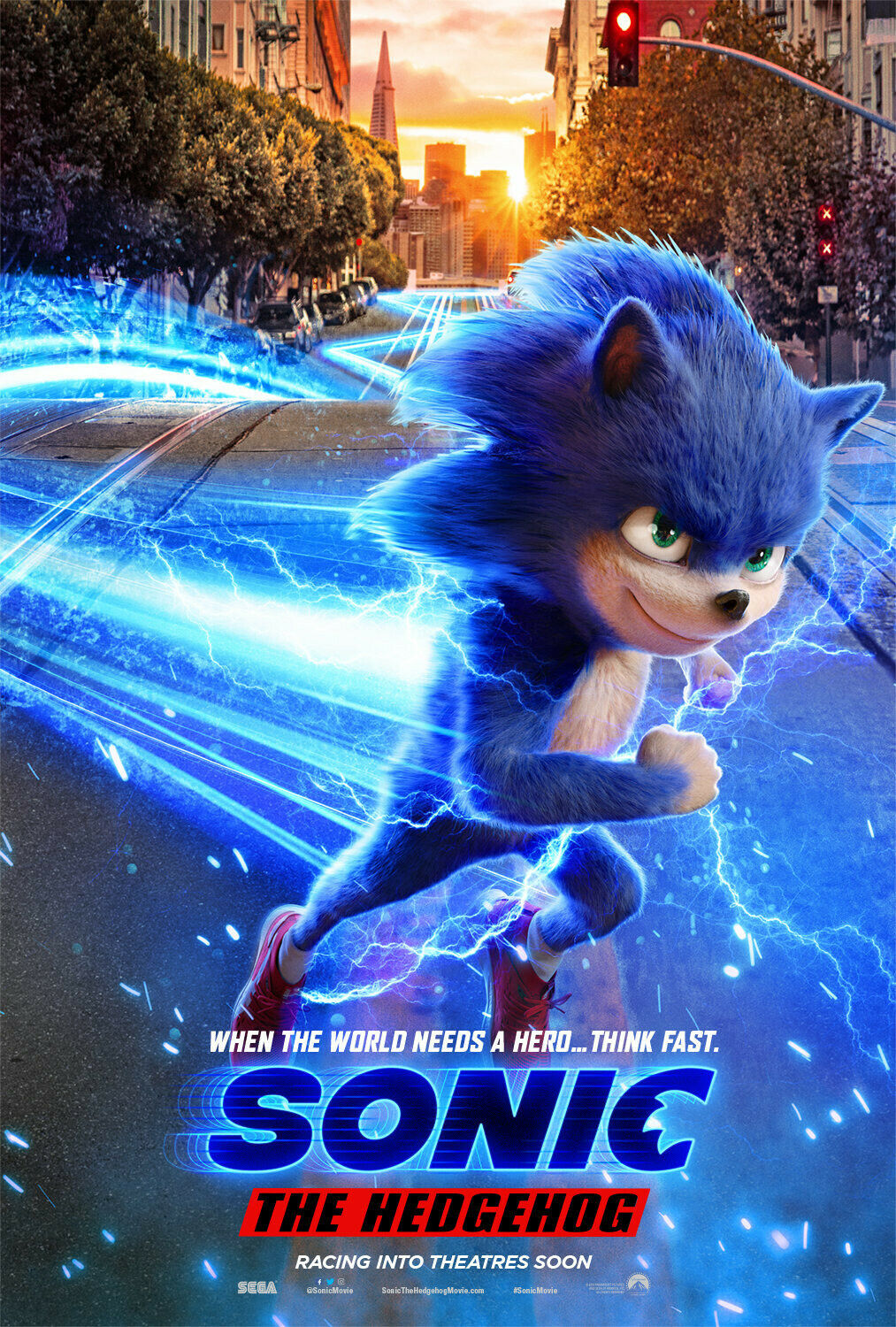 Sonic The Hedgehog 2019 Poster 36x24 21x14 Movie Film Forces