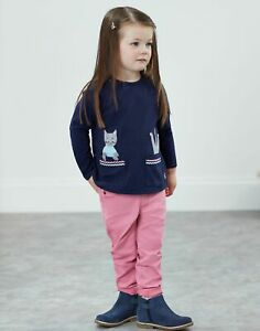 Joules Girls Ava Applique T Shirt  - NAVY POCKET CAT