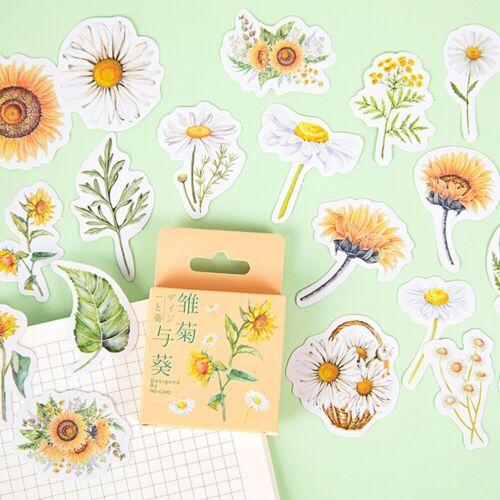 46PCS Cute Stickers Flower Stationery DIY Scrapbooking Diary Label Sticker Decor