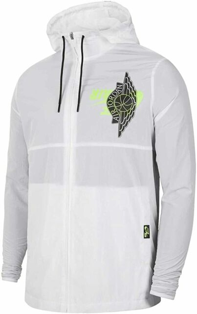 Nike Men's Air Jordan Classic Nylon Full Zip Jacket White BQ8476-100 Size L $100