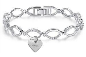 Swarovski® Bracelet Mum Crystals Linked Silver Charm Gift For Her ...