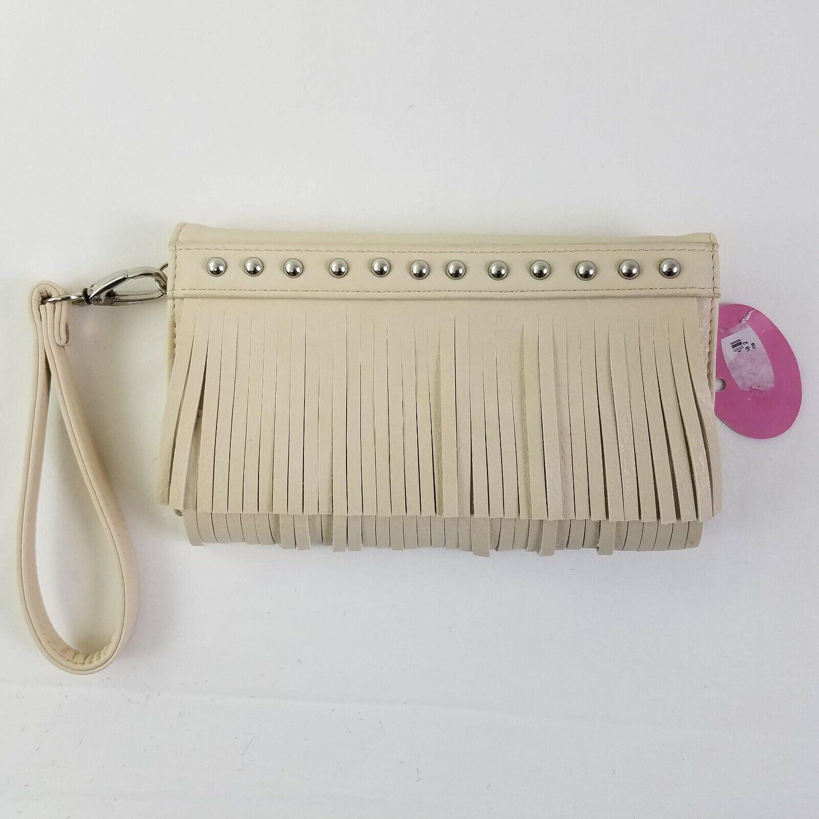 NEW Blazin Roxx Western Wallet Women Clutch Fringe Nailhead Ivory N75614