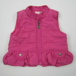 fa172ce90014 Baby Q Girls Solid Zip Up Ruffle Vest Pink Size 3 6 Months