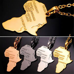 Hiphop-Africa-Necklace-Gold-Color-Pendant-Chain-African-Map-Men-Jewelry-New-Hot
