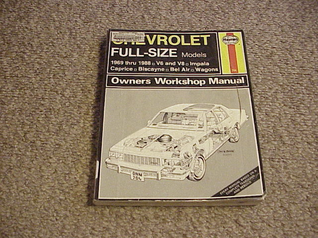 Haynes Manual Chevy Full Size Models 1969-1988 (PB, Ex-Library) / Free Shipping!