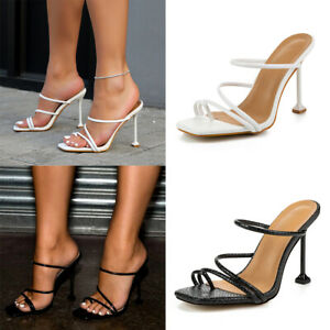Womens Slip On Shoes High Heels Sandals Strappy Ring Mules Stiletto Toe Shoes