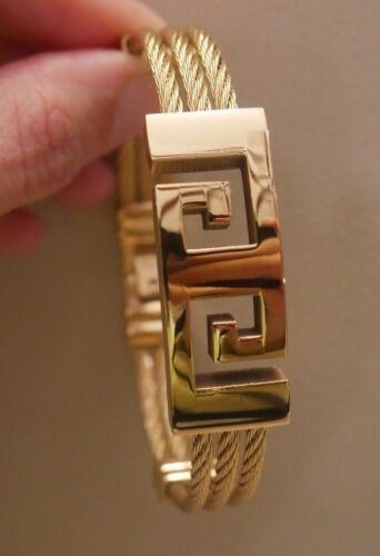 Nouveau Femmes Hommes Mode Acier inoxydable Bracelet Bangle jewlrey grec clé 18K yellowgp