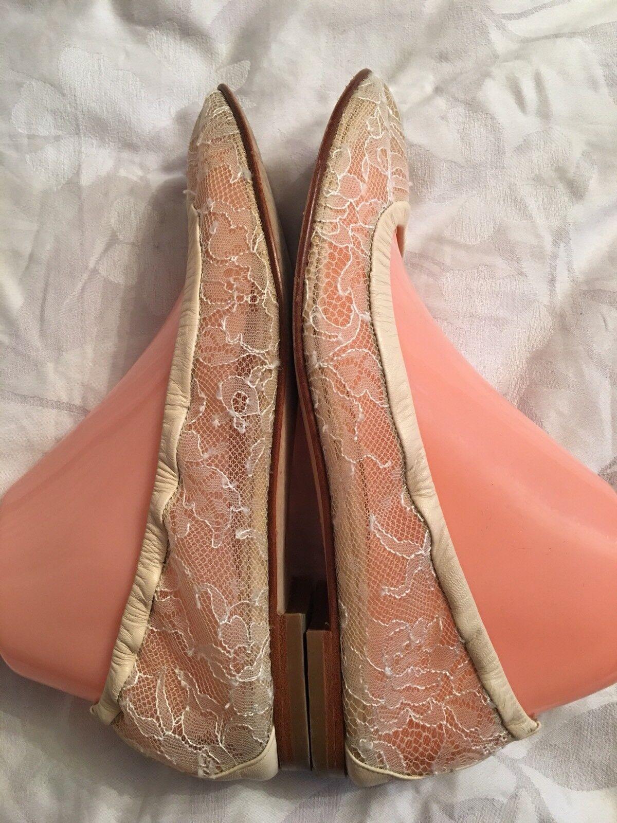 New Women's Designer Manolo Blahnik Ivory Ivory Ivory Lace Flats Size 38.5 Made In  539e7b