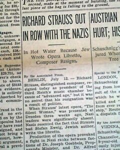 RICHARD STRAUSS & Nazis Nazi Germany re JEWS Jewish Writing Opera 1935 Newspaper