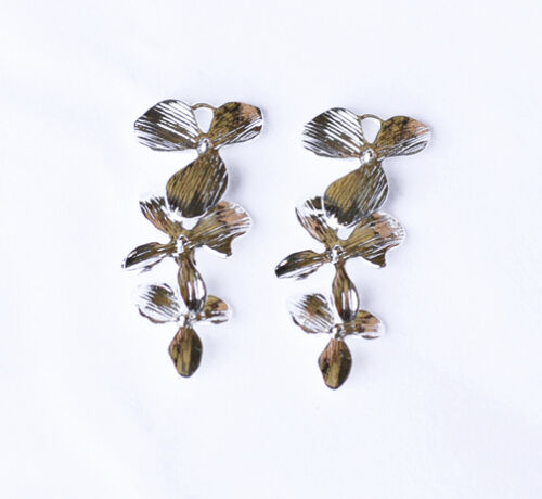 10 pcs Triple Orchid Flower Pendant Charm Connector Silver Plated AC066