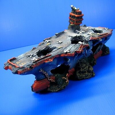 Broken Aircraft Carrier Aquarium Decorations Shipwreck - Ship NAVY Fish Tank
