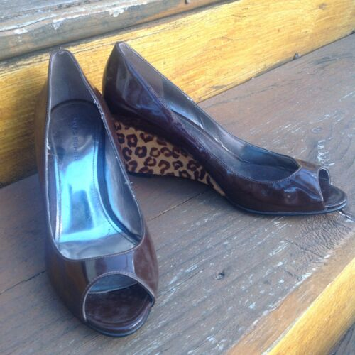Vintage Marc Fisher Leopard Brown Patent Leather P