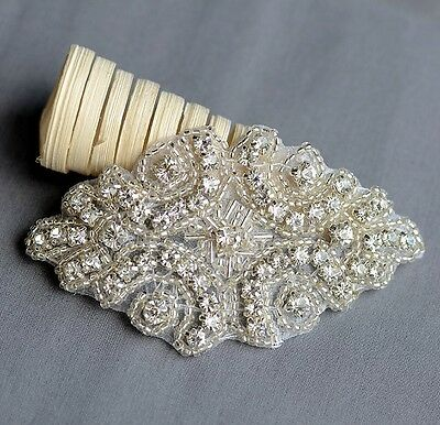 Rhinestone Applique Bridal Crystal Trim Beaded Wedding Sash Belt Headband DIY