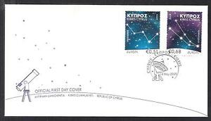 CYPRUS 2009 EUROPA CASSIOPIA ANDROMEDA SPACE STARS ASTRONOMY SET OFFICIAL FDC