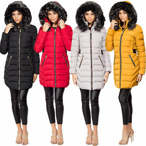 778fb1e6868 Ladies Women's Quilted Puffer Bubble Padded Fur Hooded Warm Thick ...