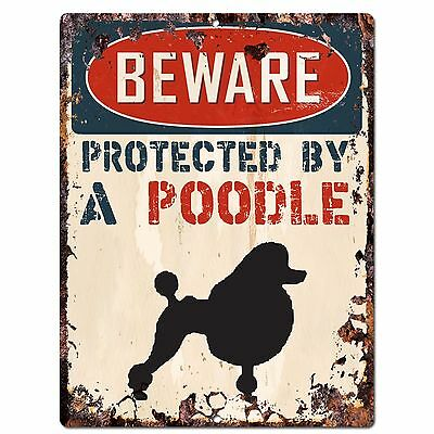 PP2099 BEWARE PROTECTED BY A POODLE Rustic Plate Chic Sign Home Door Decor