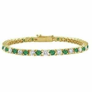 6-00Ct-Round-Cut-Emerald-amp-Diamond-7-25-039-039-Tennis-Bracelet-14k-Yellow-Gold-Finish