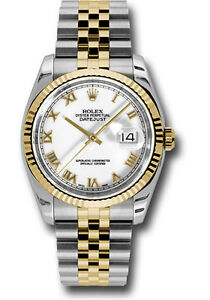 Rolex-Datejust-36mm-Jubilee-Stainless-Steel-amp-Yellow-Gold-White-Roman-Dial-116233