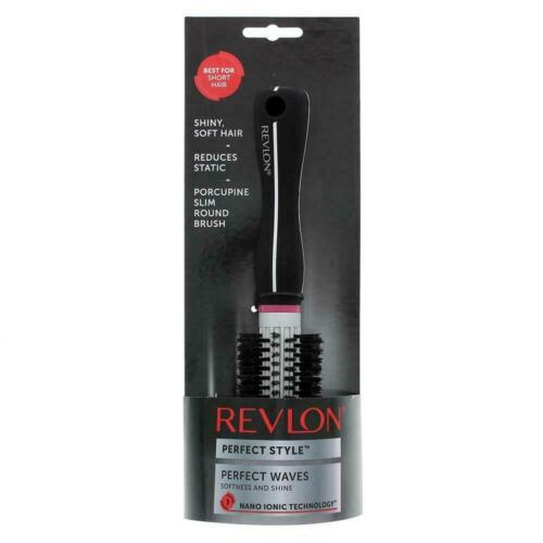 Details about  /Revlon Perfect Style Shine Slim Round Porcupine Hair Brush Perfect Waves Silver