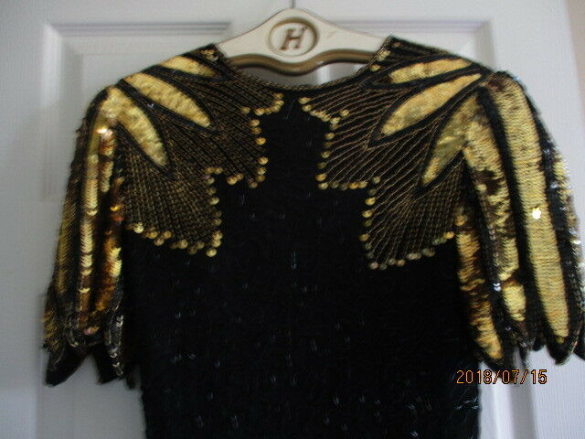 Mark And John By B2 VTG Womens Dress Size S Silk Heavily Beaded  AND Sequins