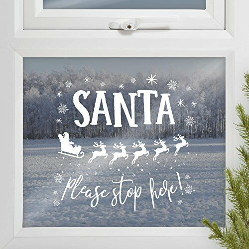 Ginger Ray Christmas Santa Stop Here Sign Window Removable Sticker Decoration