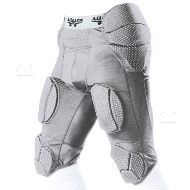 f4d97938c24 Alleson 7-Pad Integrated Football System Girdle Silver Youth Small 689SGY  994-25