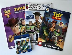 Lot-Of-4-Disney-Toy-Story-4-Jumbo-Coloring-Book-Activities-Sticker-Crayons-Comic