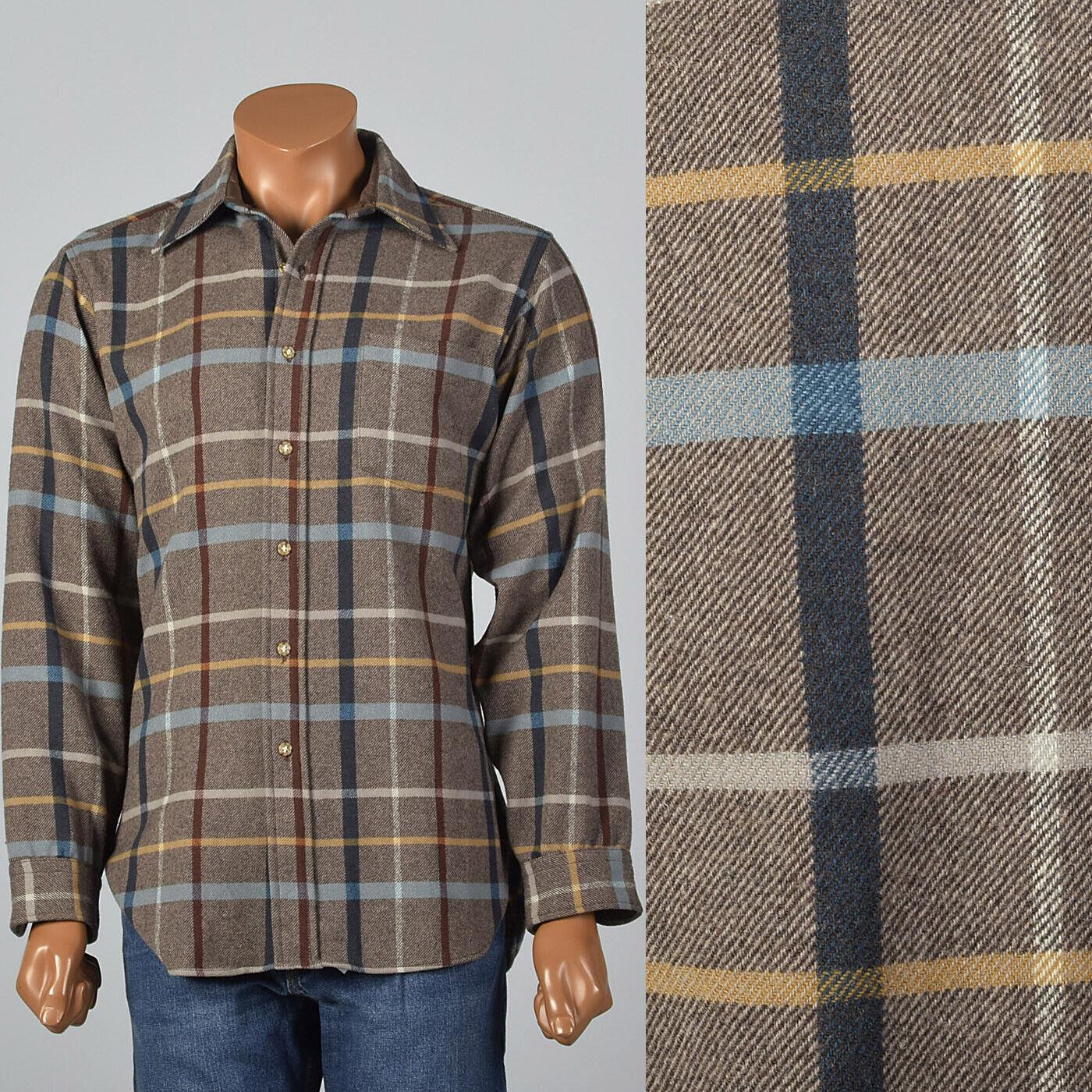 L 1960s Mens Pendleton Brown Plaid Shirt Long Sleeve Wool Separates 60s VTG