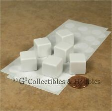 NEW Set of 6 Blank Dice - 16mm White - D&D RPG Game 5/8 inch D6