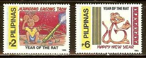 Mint Philippines1996 Year of the Rat stamps Set Scott#2386-2387(MNH)