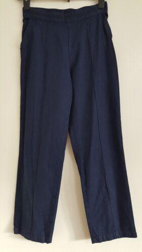 NEW Ex M/&S Size 8-10 Soft Denim Dark Blue Elasticated Cotton Trousers Jeans Navy