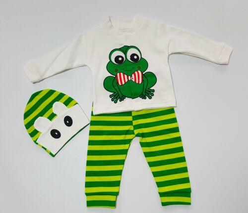 """Babyset Geschenkset 3-teilig Shirt langarm Mütze /""""Frosch/"""" Gr Hose u 80 *NEU*"""
