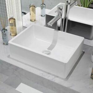 vidaXL-Basin-Ceramic-White-Rectangular-Cloakroom-Bathroom-Above-Counter-Sink