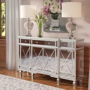 Image Is Loading Mirrored 4 Door Sideboard Buffet Credenza Lounge Dining