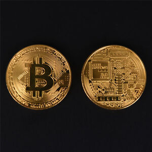 2x-Gold-Bitcoin-Commemorative-Round-Collectors-Coins-Bit-Coin-Gold-Plated