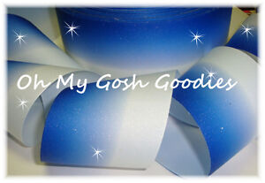 """3"""" GLITTER ROYAL OMBRE CHEER GROSGRAIN RIBBON FOOTBALL 4 TIC TOC HAIRBOW BOW"""