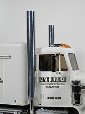 Pair Aluminum Straight Stack Exhaust Tip Pipe Tamiya RC 1/14 King Grand Hauler